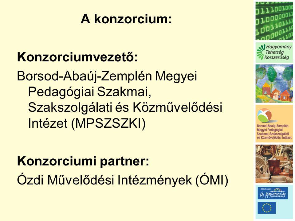 A konzorcium: Konzorciumvezető: Borsod-Abaúj-Zemplén Megyei Pedagógiai Szakmai, Szakszolgálati és Közművelődési Intézet (MPSZSZKI)