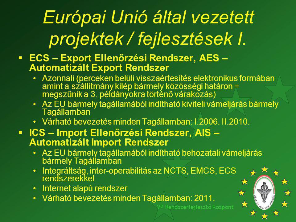 Európai Unió által vezetett projektek / fejlesztések I.