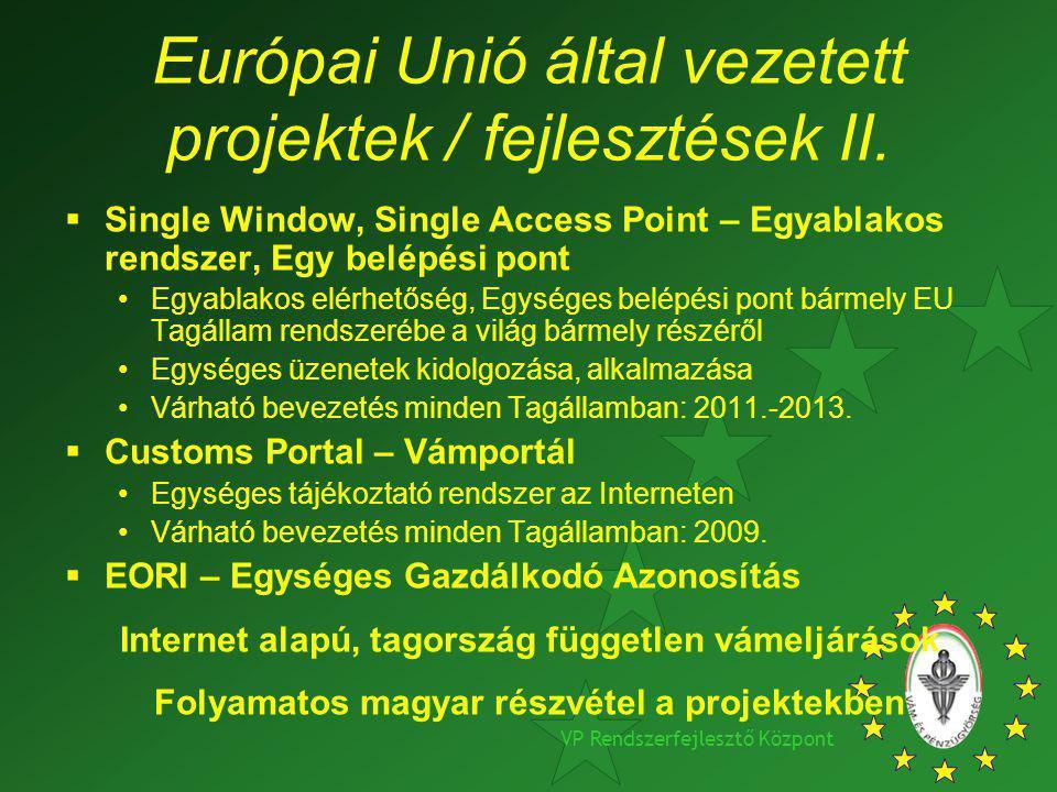 Európai Unió által vezetett projektek / fejlesztések II.