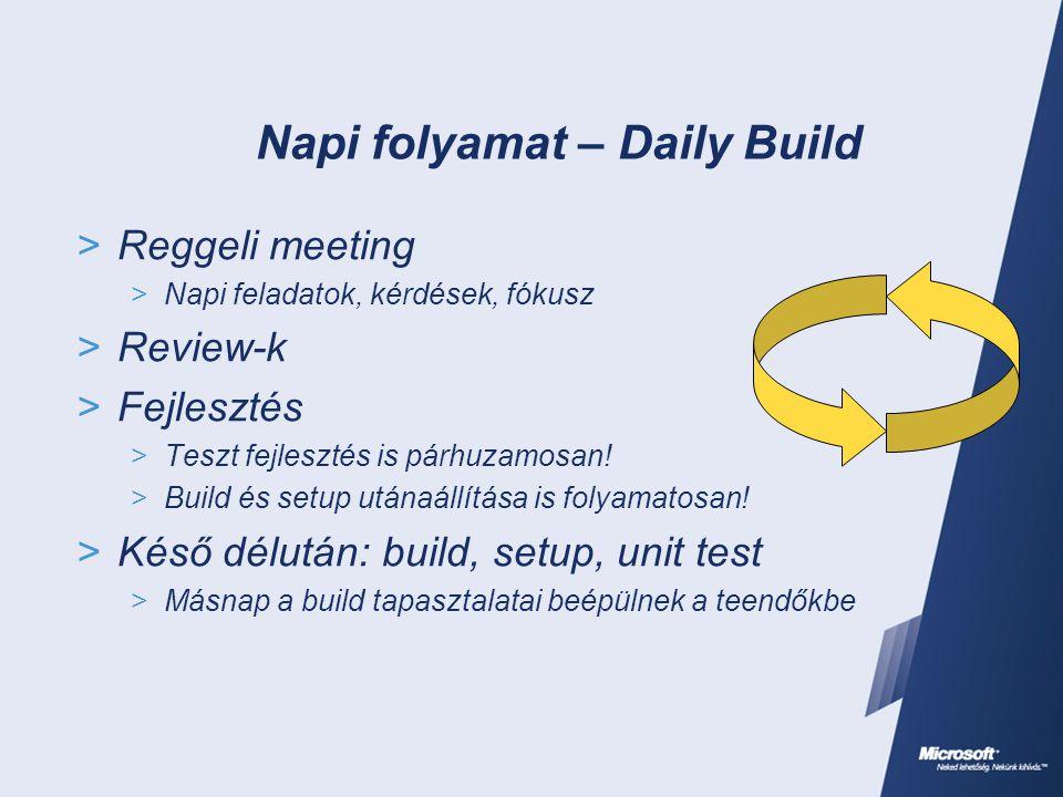 Napi folyamat – Daily Build