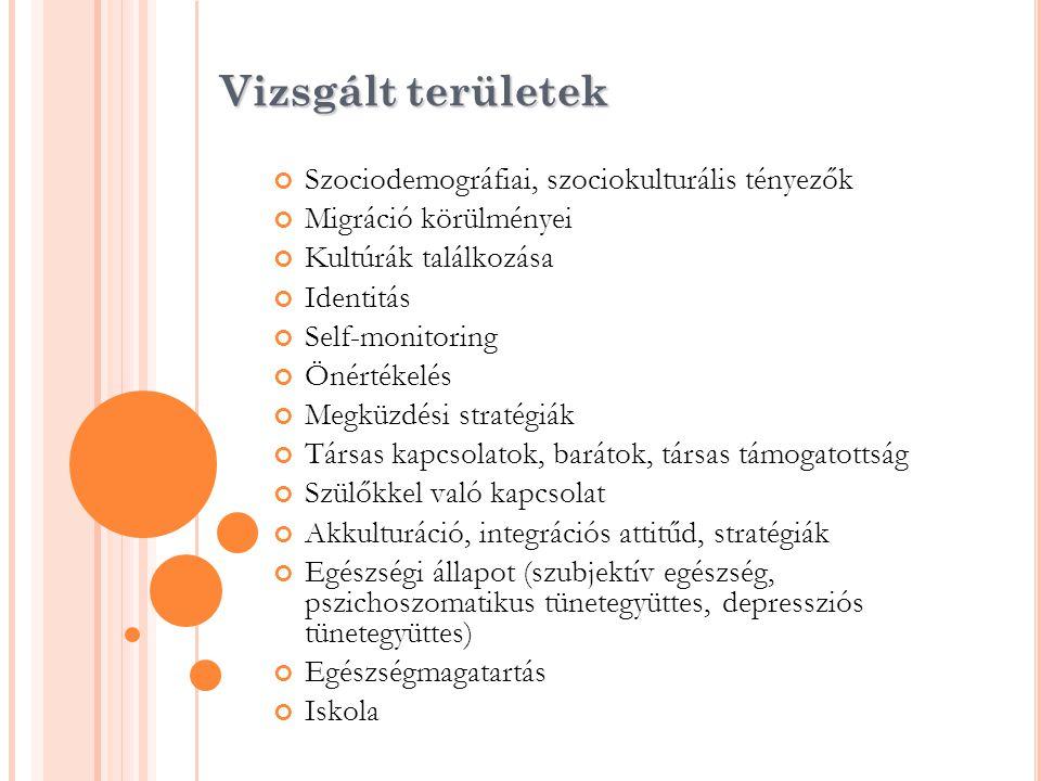 Vizsgált területek Szociodemográfiai, szociokulturális tényezők