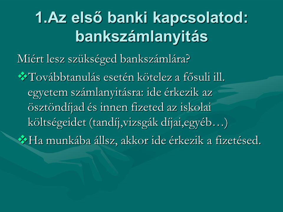 1.Az első banki kapcsolatod: bankszámlanyitás