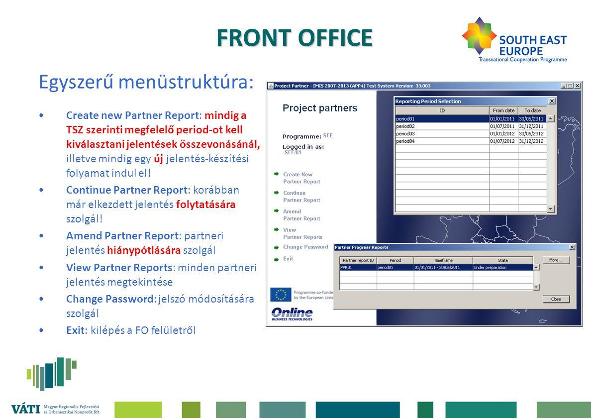 FRONT OFFICE Egyszerű menüstruktúra: