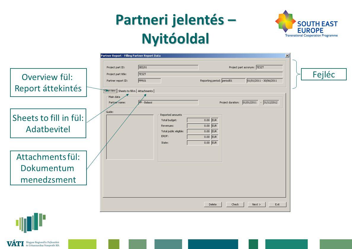 Partneri jelentés – Nyitóoldal