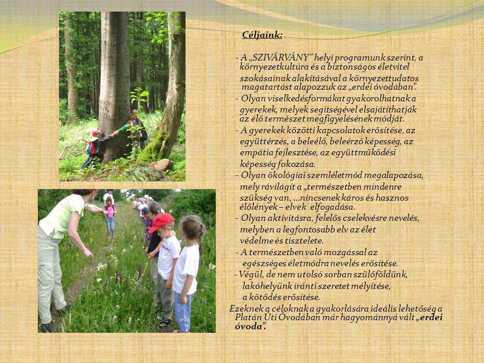 """Céljaink: - A """"SZIVÁRVÁNY helyi programunk szerint, a környezetkultúra és a biztonságos életvitel."""