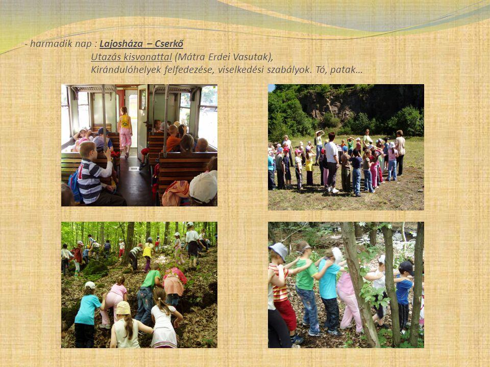 - harmadik nap : Lajosháza – Cserkő Utazás kisvonattal (Mátra Erdei Vasutak), Kirándulóhelyek felfedezése, viselkedési szabályok.