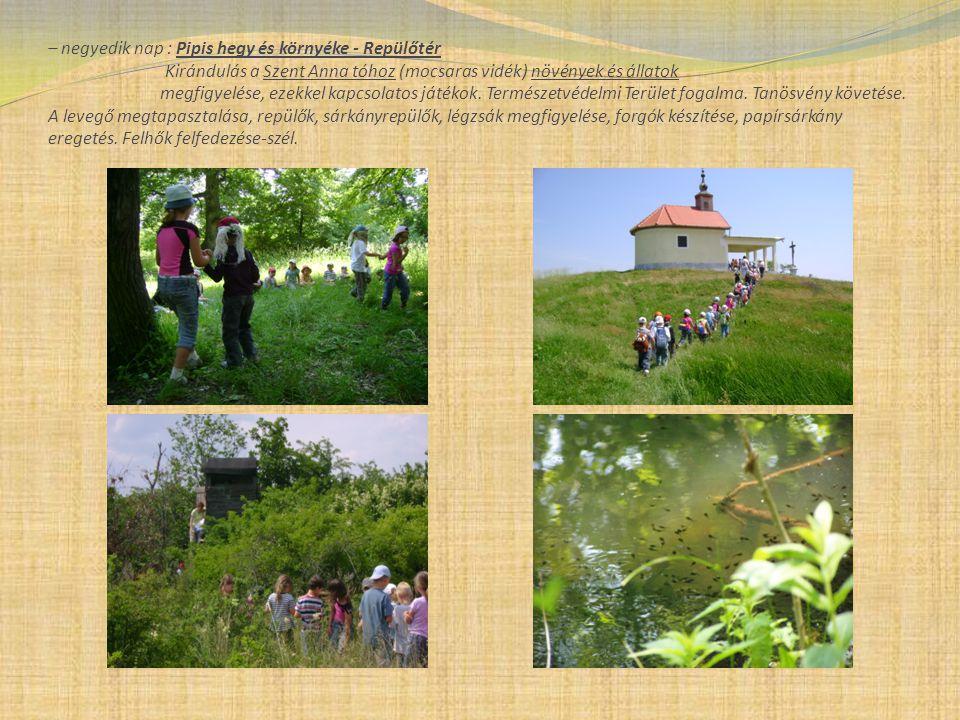 – negyedik nap : Pipis hegy és környéke - Repülőtér Kirándulás a Szent Anna tóhoz (mocsaras vidék) növények és állatok megfigyelése, ezekkel kapcsolatos játékok.