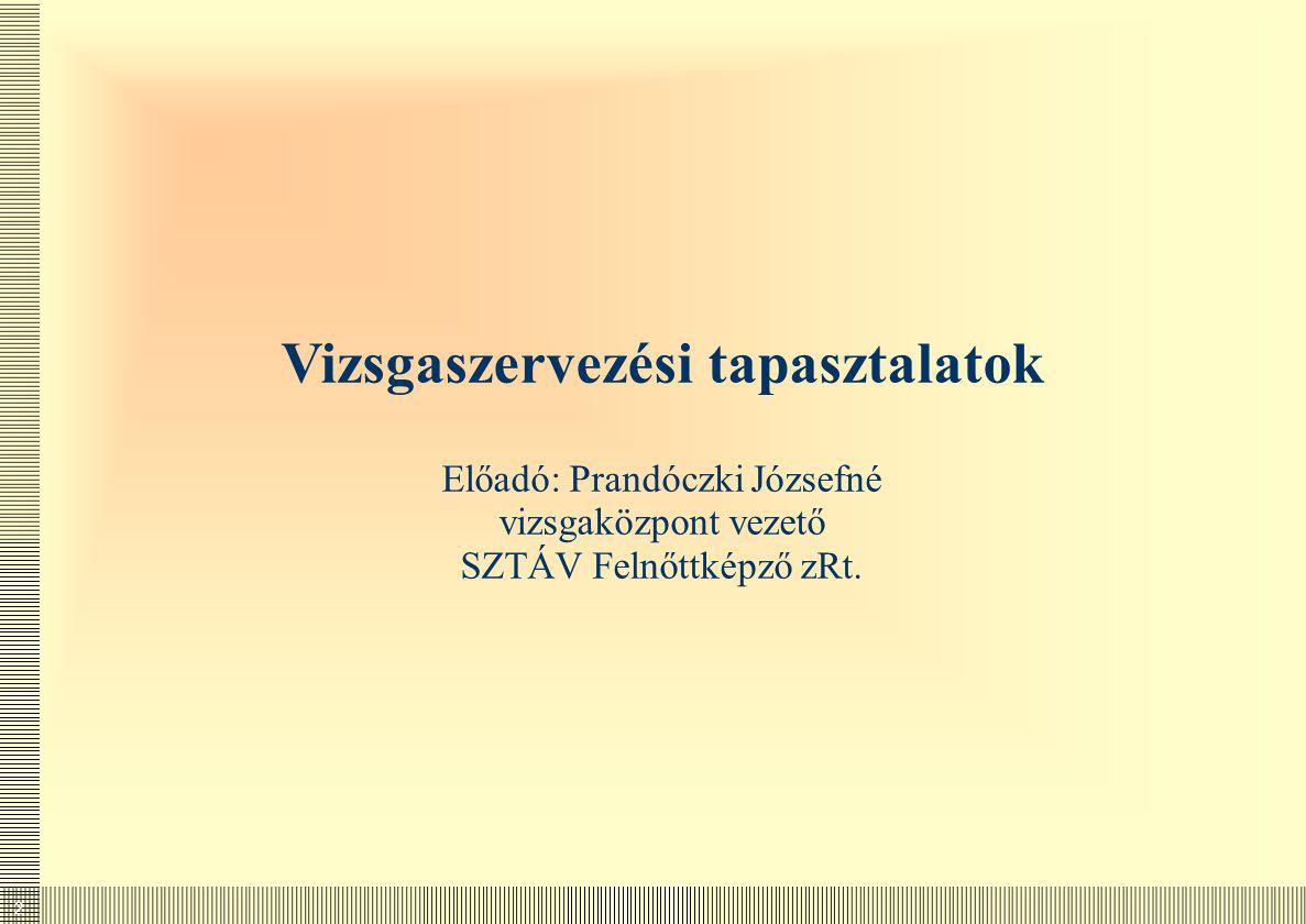 Vizsgaszervezési tapasztalatok Előadó: Prandóczki Józsefné