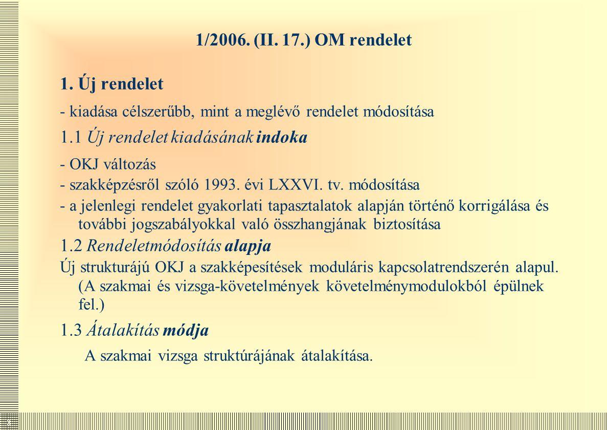 1.1 Új rendelet kiadásának indoka