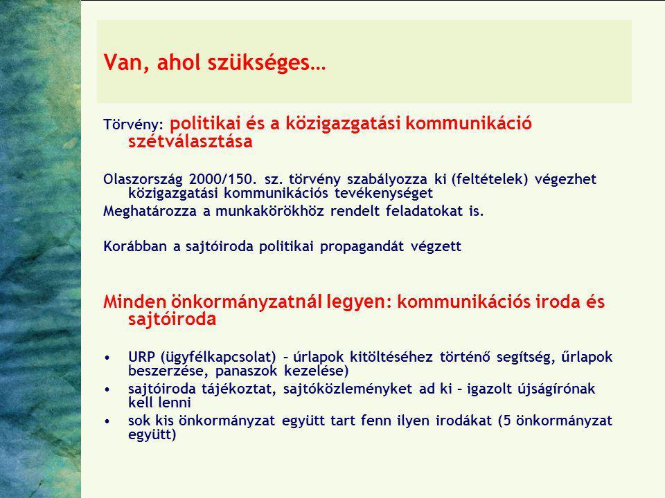 Van, ahol szükséges… Törvény: politikai és a közigazgatási kommunikáció szétválasztása.