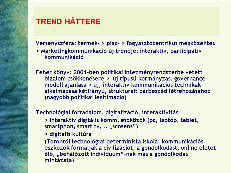 TREND HÁTTERE Versenyszféra: termék- > piac- > fogyasztócentrikus megközelítés.
