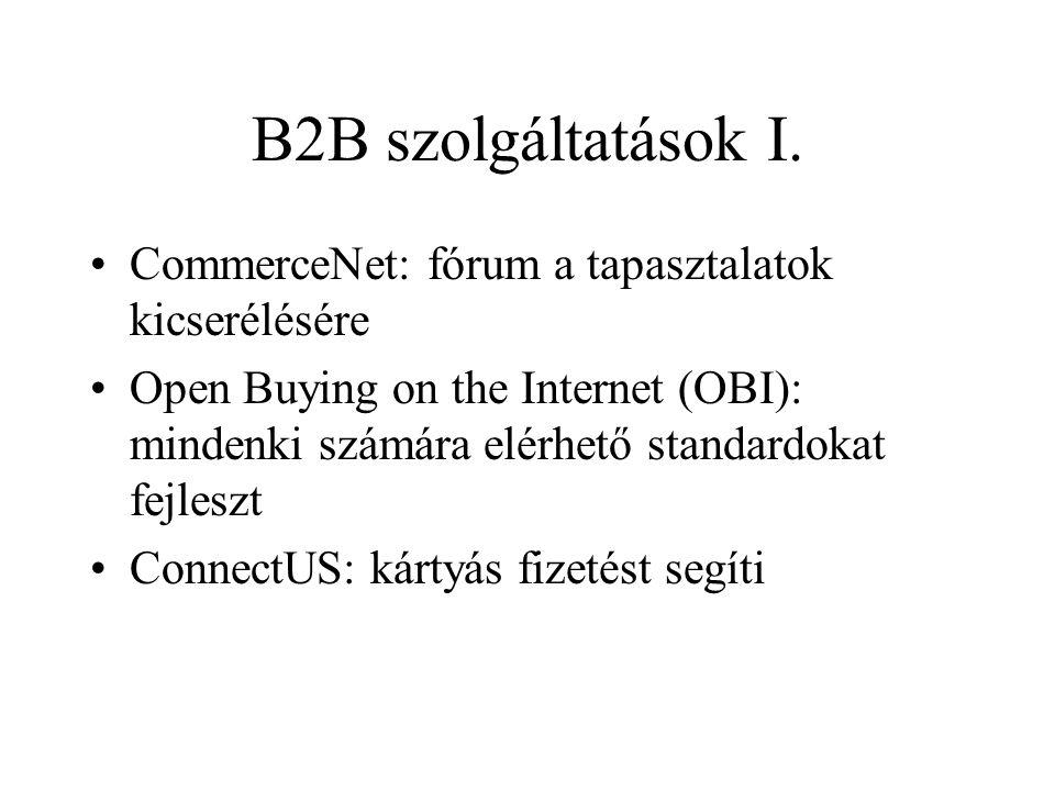 B2B szolgáltatások I. CommerceNet: fórum a tapasztalatok kicserélésére