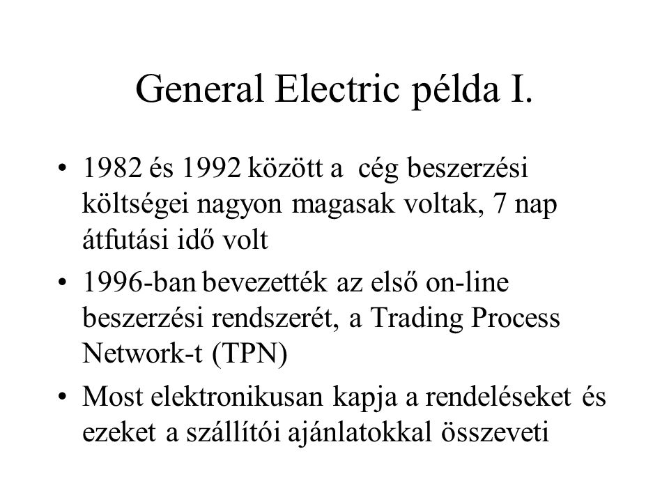 General Electric példa I.
