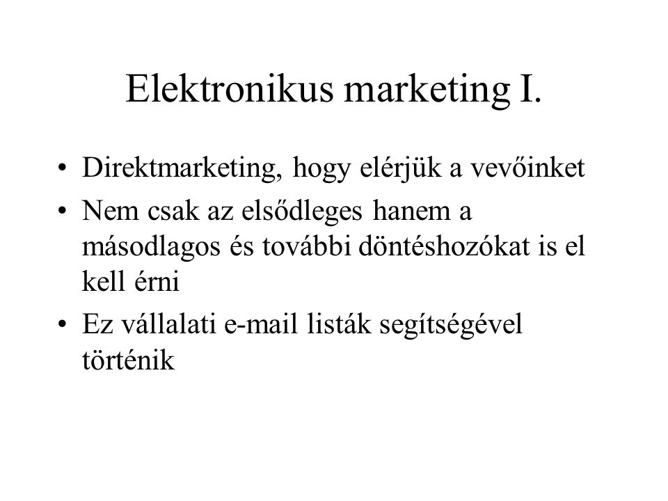 Elektronikus marketing I.