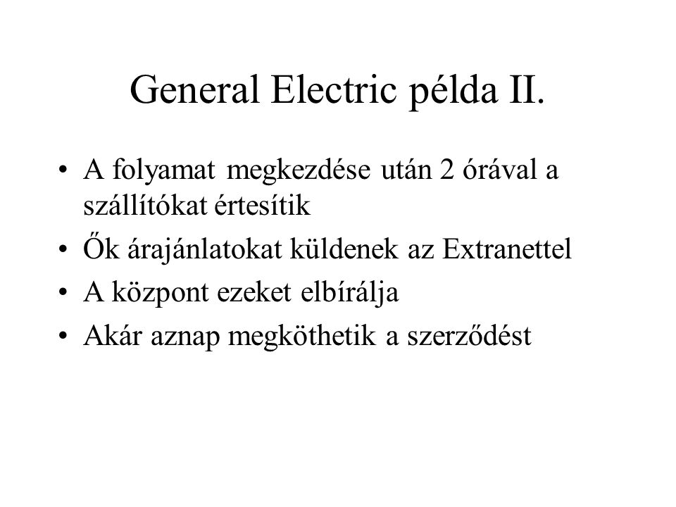 General Electric példa II.