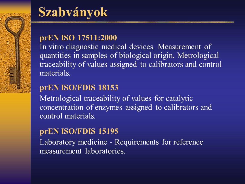 Szabványok prEN ISO 17511:2000.