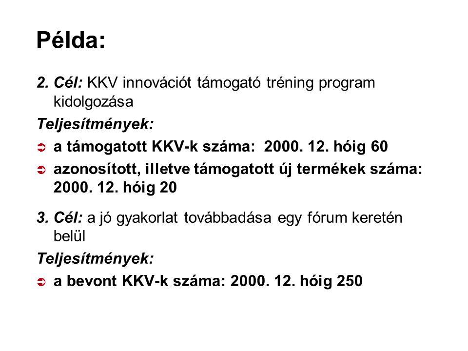 Példa: 2. Cél: KKV innovációt támogató tréning program kidolgozása