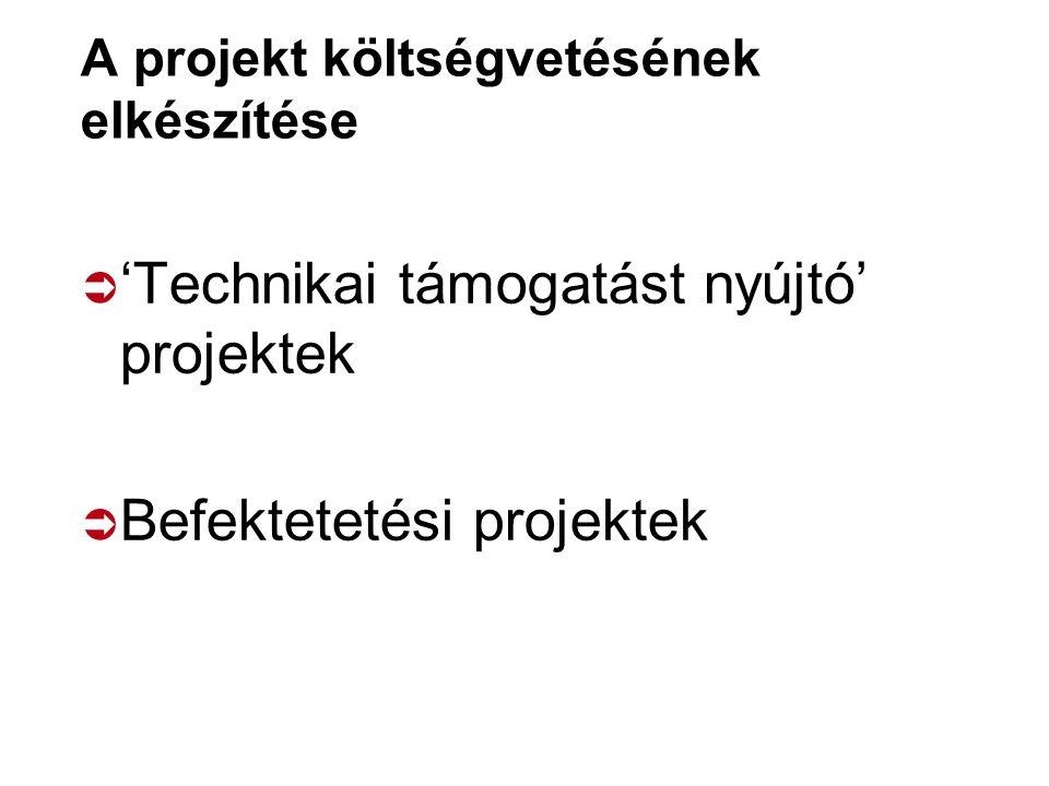 A projekt költségvetésének elkészítése