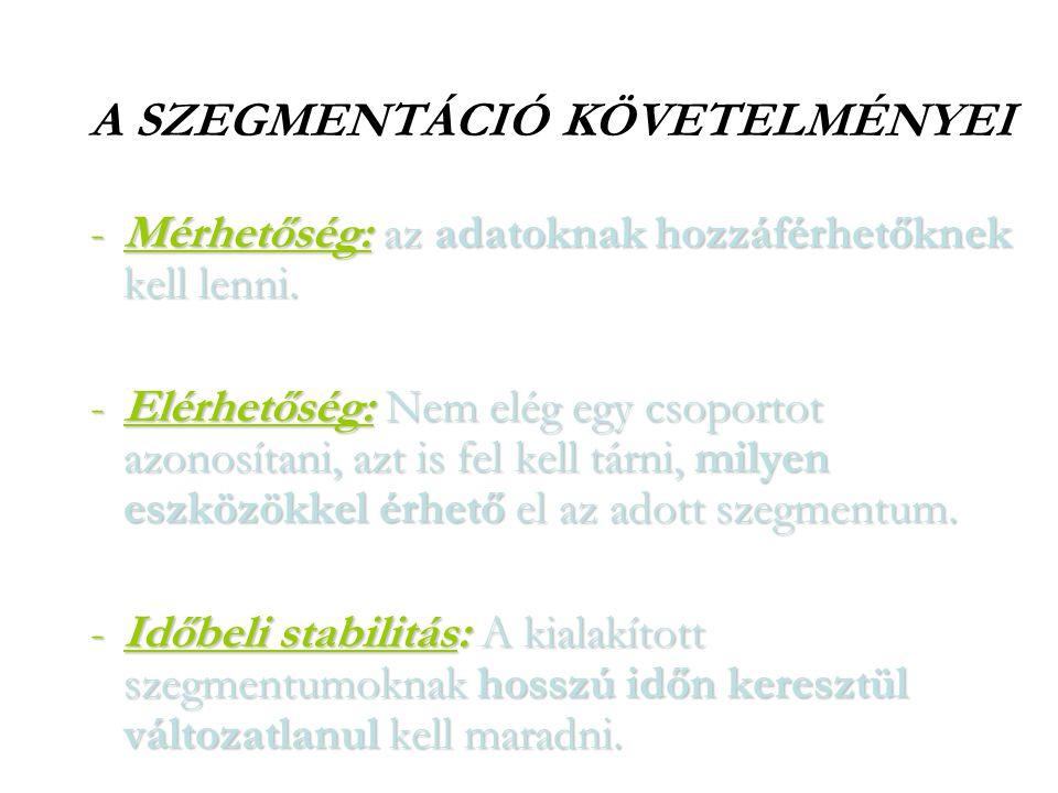 A SZEGMENTÁCIÓ KÖVETELMÉNYEI