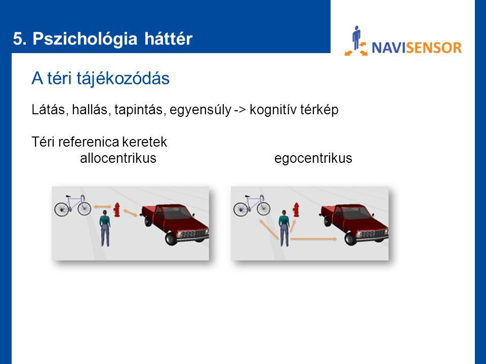5. Pszichológia háttér A téri tájékozódás