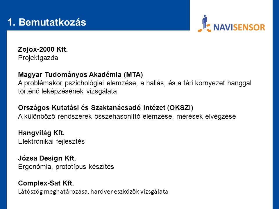 1. Bemutatkozás Zojox-2000 Kft. Projektgazda
