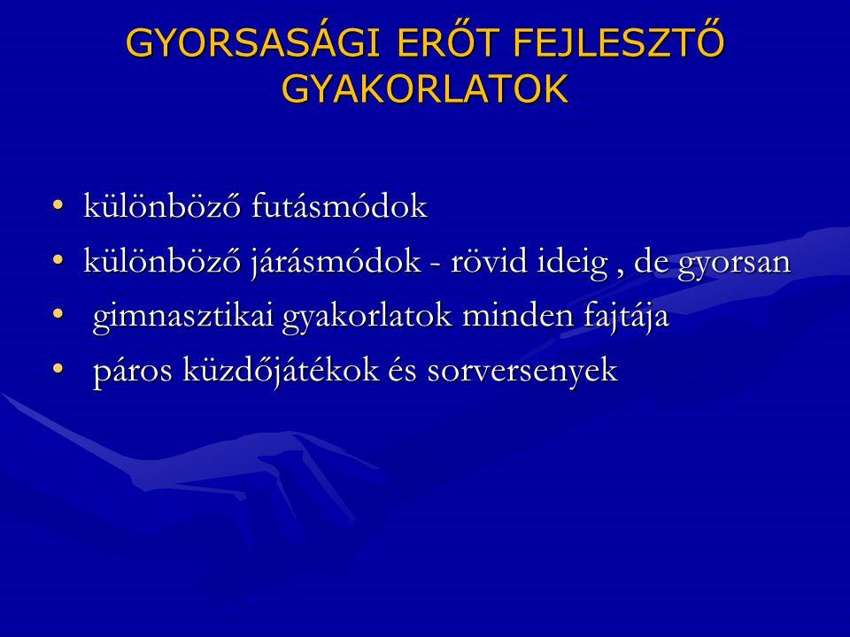 GYORSASÁGI ERŐT FEJLESZTŐ GYAKORLATOK