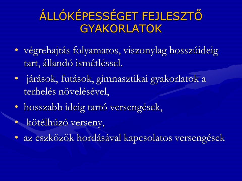 ÁLLÓKÉPESSÉGET FEJLESZTŐ GYAKORLATOK