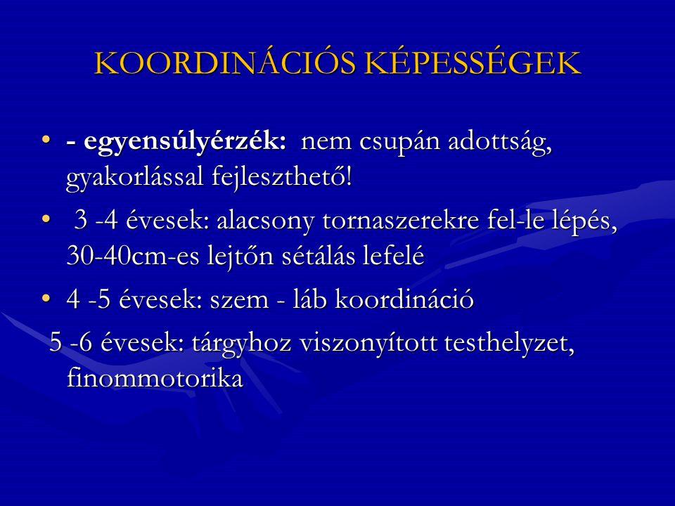 KOORDINÁCIÓS KÉPESSÉGEK