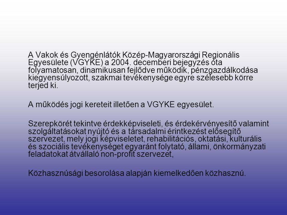A Vakok és Gyengénlátók Közép-Magyarországi Regionális Egyesülete (VGYKE) a 2004. decemberi bejegyzés óta folyamatosan, dinamikusan fejlődve működik, pénzgazdálkodása kiegyensúlyozott, szakmai tevékenysége egyre szélesebb körre terjed ki.