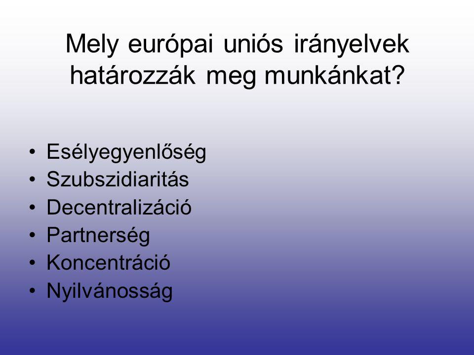 Mely európai uniós irányelvek határozzák meg munkánkat