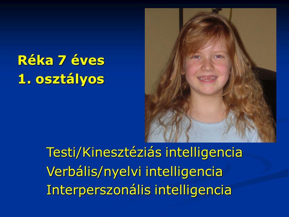Réka 7 éves 1. osztályos. Testi/Kinesztéziás intelligencia.
