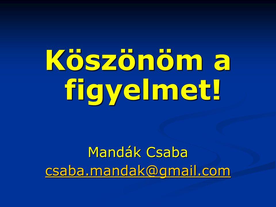 Köszönöm a figyelmet! Mandák Csaba csaba.mandak@gmail.com
