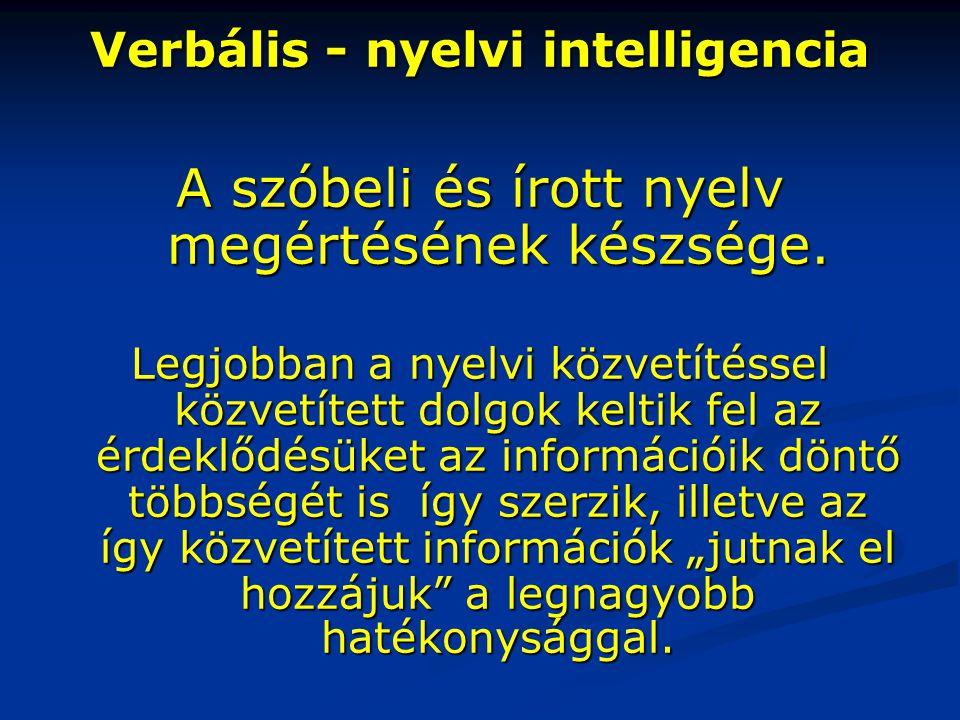 A szóbeli és írott nyelv megértésének készsége.