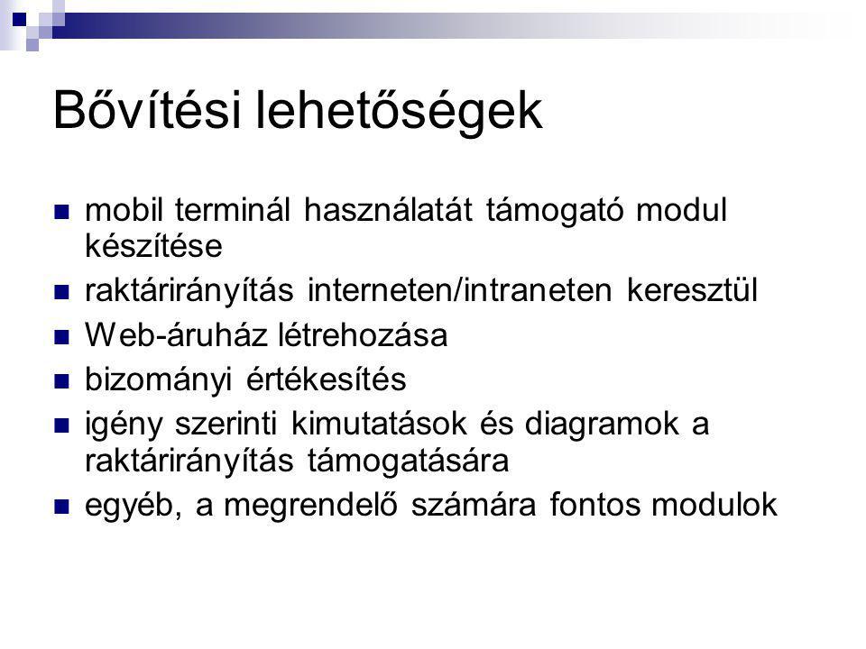 Bővítési lehetőségek mobil terminál használatát támogató modul készítése. raktárirányítás interneten/intraneten keresztül.