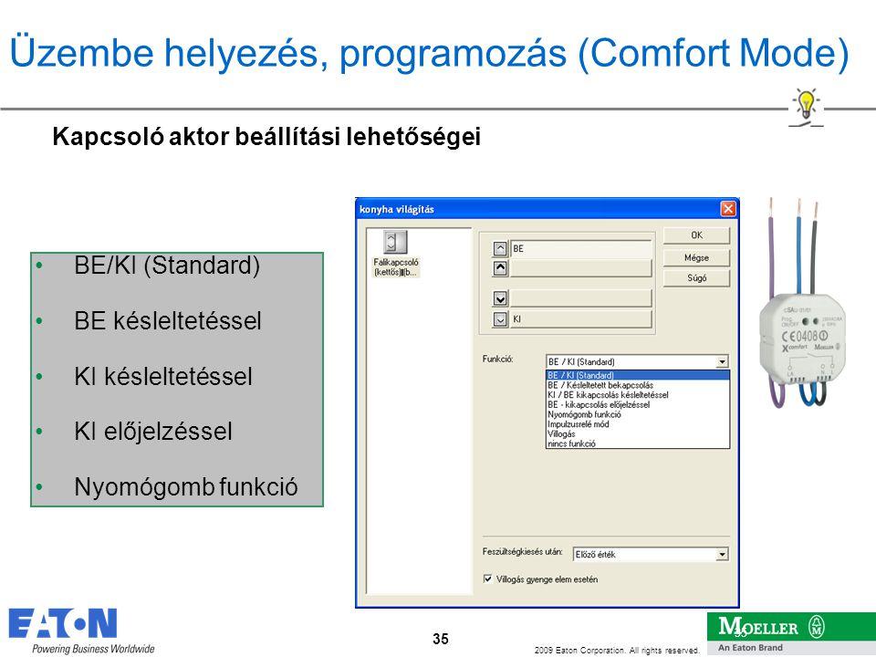 Üzembe helyezés, programozás (Comfort Mode)