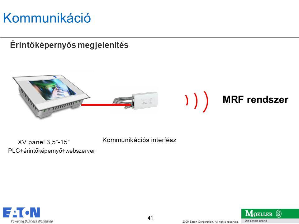 Kommunikáció MRF rendszer Érintőképernyős megjelenítés