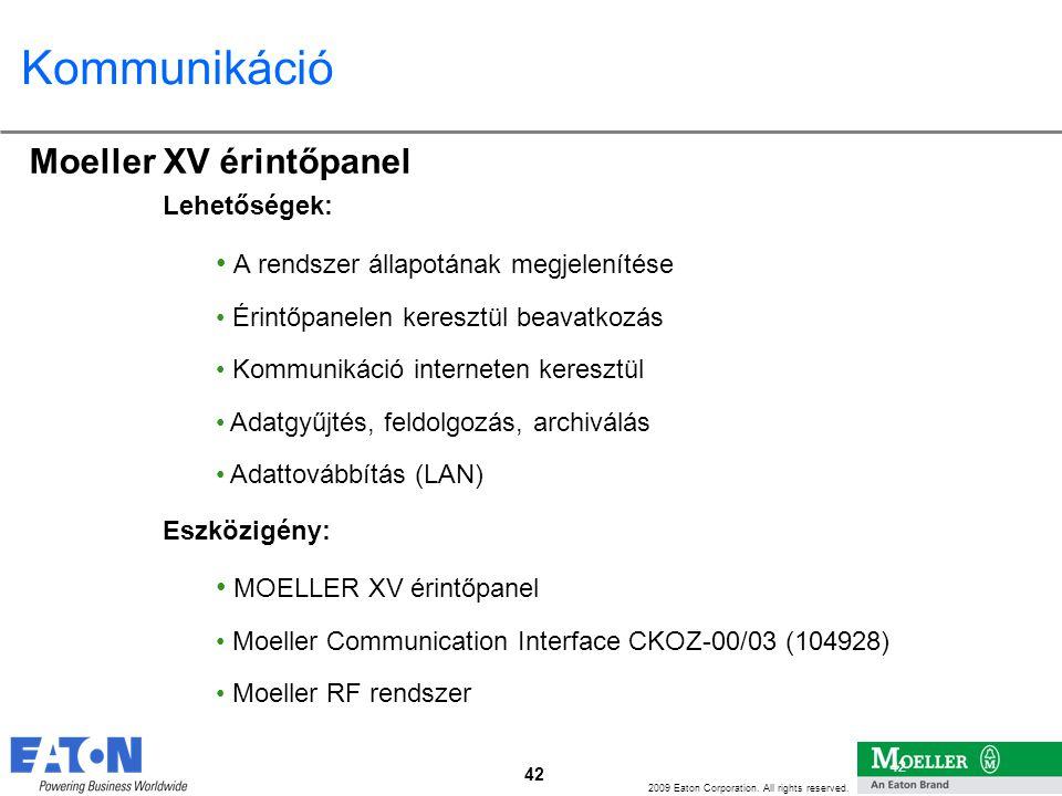 Kommunikáció Moeller XV érintőpanel