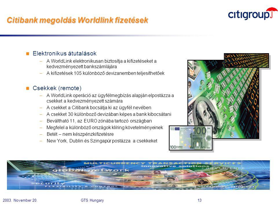 Citibank megoldás Worldlink fizetések