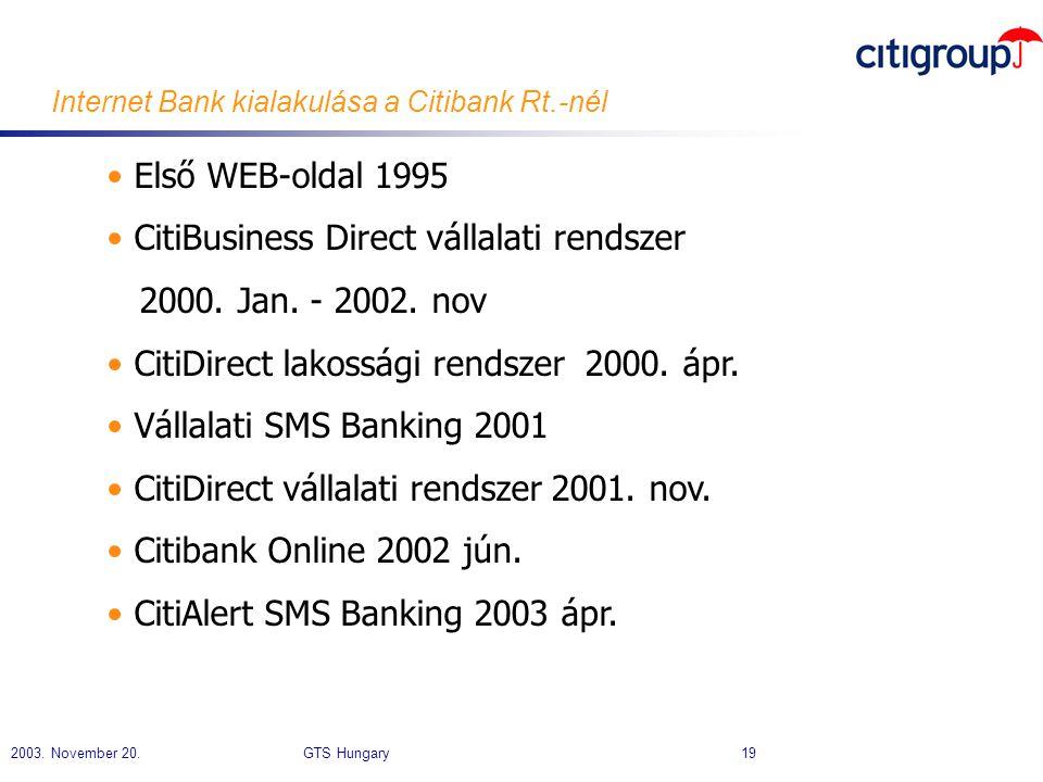Internet Bank kialakulása a Citibank Rt.-nél