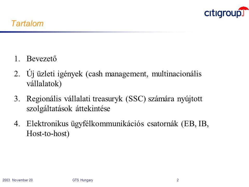 Tartalom Bevezető. Új üzleti igények (cash management, multinacionális vállalatok)