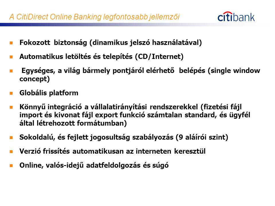 A CitiDirect Online Banking legfontosabb jellemzői