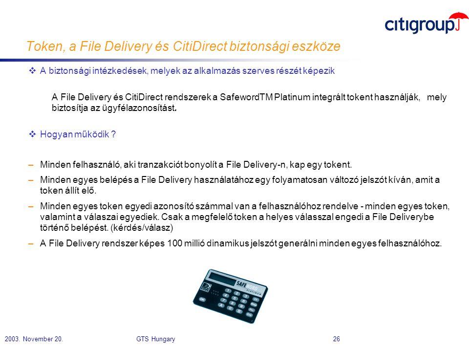 Token, a File Delivery és CitiDirect biztonsági eszköze
