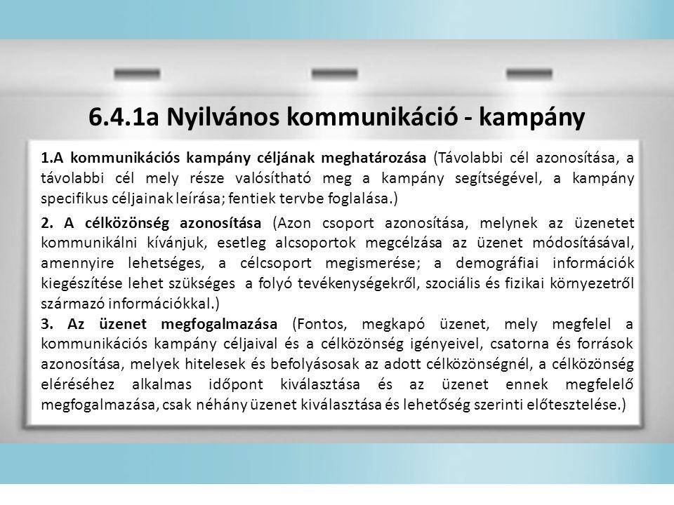 6.4.1a Nyilvános kommunikáció - kampány