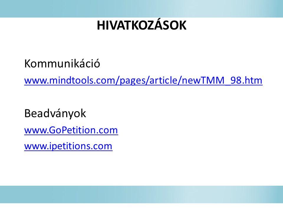 HIVATKOZÁSOK Kommunikáció Beadványok