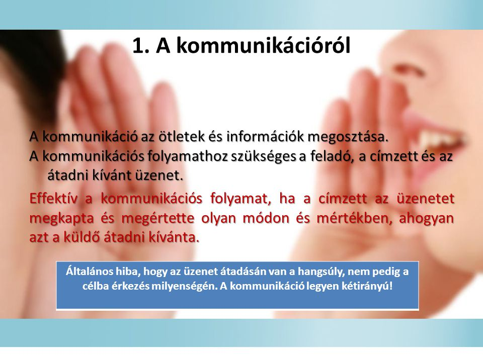 1. A kommunikációról
