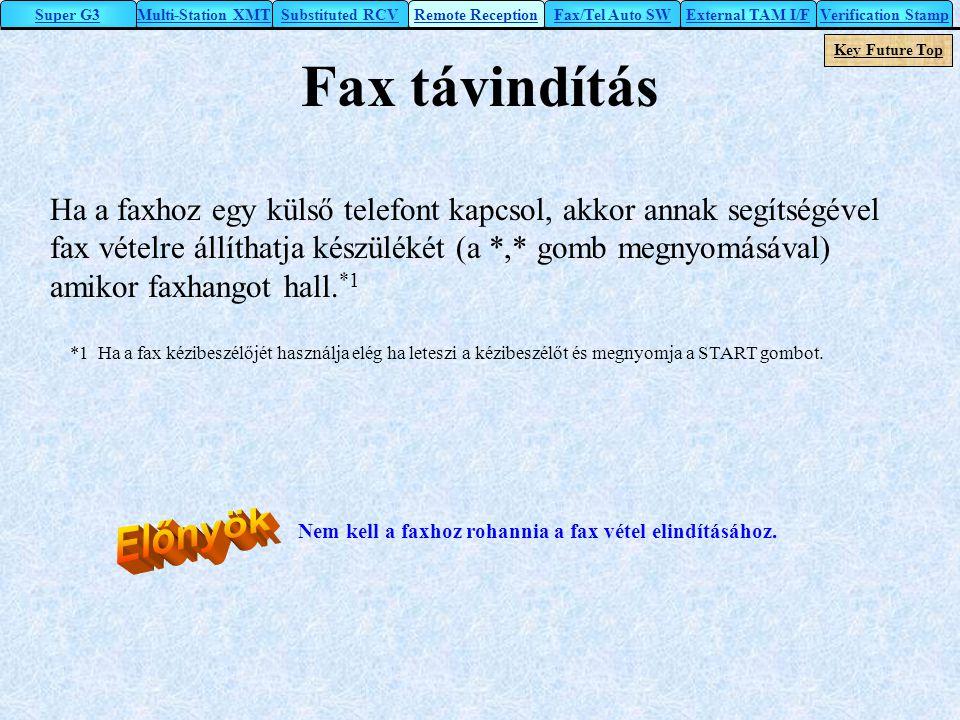 Fax távindítás Előnyök