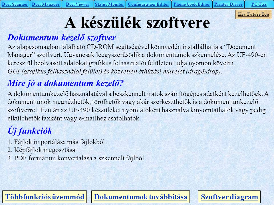 A készülék szoftvere Dokumentum kezelő szoftver
