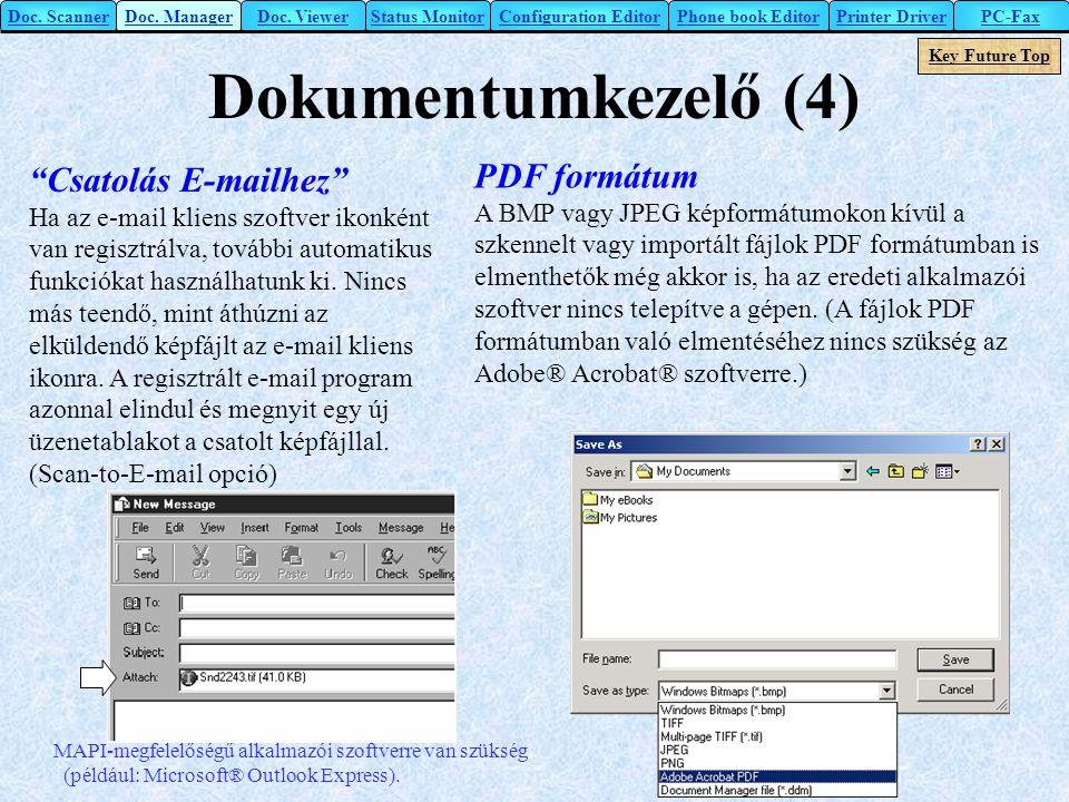 Dokumentumkezelő (4) PDF formátum Csatolás E-mailhez