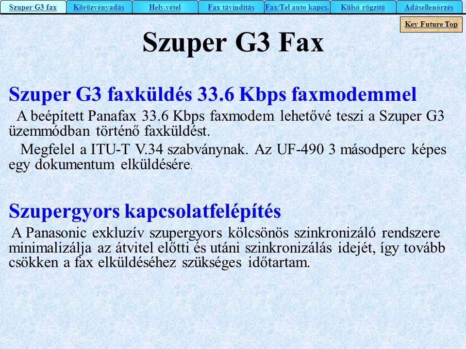 Szuper G3 Fax Szuper G3 faxküldés 33.6 Kbps faxmodemmel