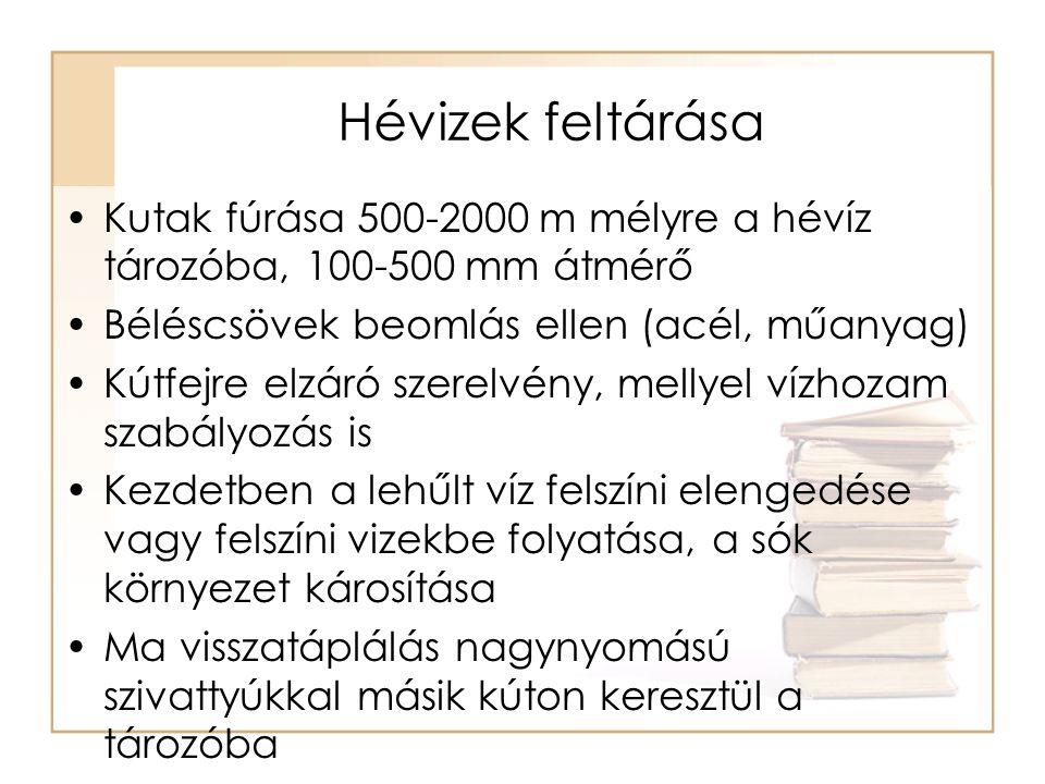 Hévizek feltárása Kutak fúrása 500-2000 m mélyre a hévíz tározóba, 100-500 mm átmérő. Béléscsövek beomlás ellen (acél, műanyag)